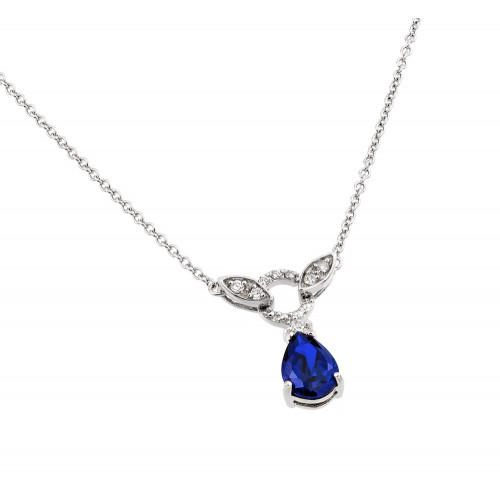 Wholesale Sterling Silver 925 Rhodium Plated Blue and Clear CZ Stone Tear Drop Shape Pendant Necklace - BGP00846B