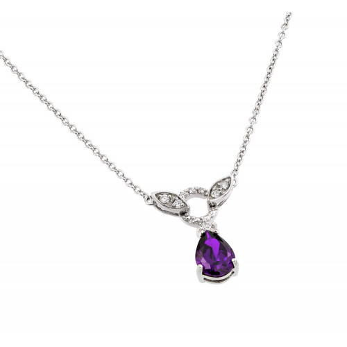 Wholesale Sterling Silver 925 Rhodium Plated Purple and Clear CZ Stone Tear Drop Shape Pendant Necklace - BGP00846P