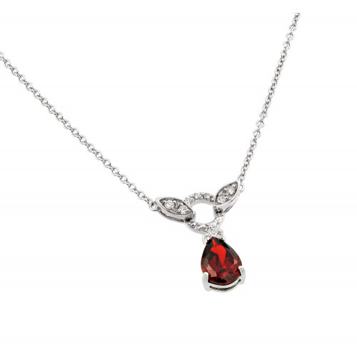 Wholesale Sterling Silver 925 Rhodium Plated Red and Clear CZ Stone Tear Drop Shape Pendant Necklace - BGP00846R