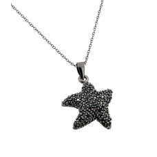 Sterling Silver Black Rhodium Plated Black CZ Stone Onyx Star Fish Pendant Necklace - BGP00852