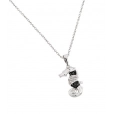Sterling Silver Rhodium Plated Clear CZ Stone and Onyx Sea Horse Pendant Necklace - BGP00853