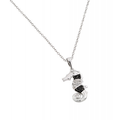 Wholesale Sterling Silver 925 Rhodium Plated Clear CZ Stone and Onyx Sea Horse Pendant Necklace - BGP00853