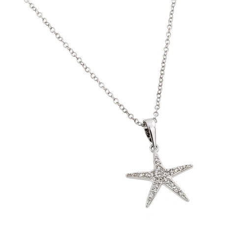Wholesale Sterling Silver 925 Rhodium Plated Clear CZ Stone Star Fish Pendant Necklace - BGP00854