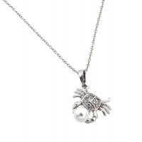Wholesale Sterling Silver 925 Rhodium Plated Clear CZ Stone Crab Holding Synthetic Pearl Pendant Necklace - BGP00857