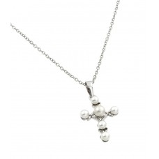 Wholesale Sterling Silver 925 Rhodium Plated Cross Pearl Pendant Necklace - BGP00858