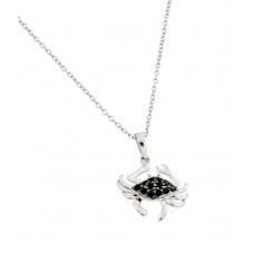 Sterling Silver Rhodium Plated Clear and Black CZ Stone Crab Pendant Necklace - BGP00861