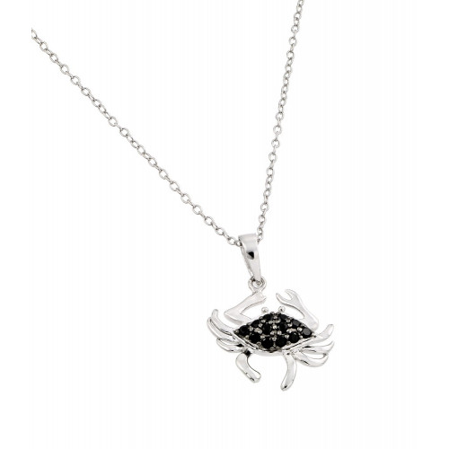 Wholesale Sterling Silver 925 Rhodium Plated Clear and Black CZ Stone Crab Pendant Necklace - BGP00861