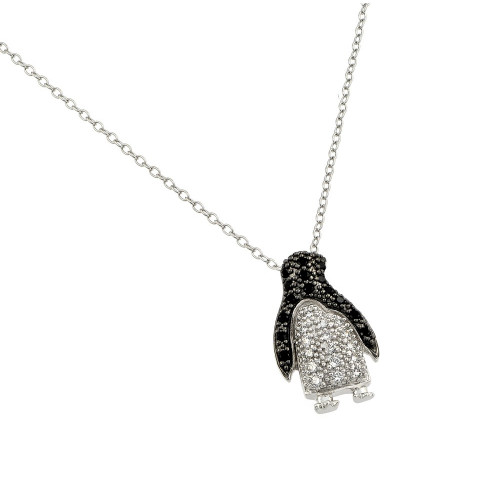 Wholesale Sterling Silver 925 Rhodium Plated Clear and Black CZ Stone Penguin Pendant Necklace - BGP00863