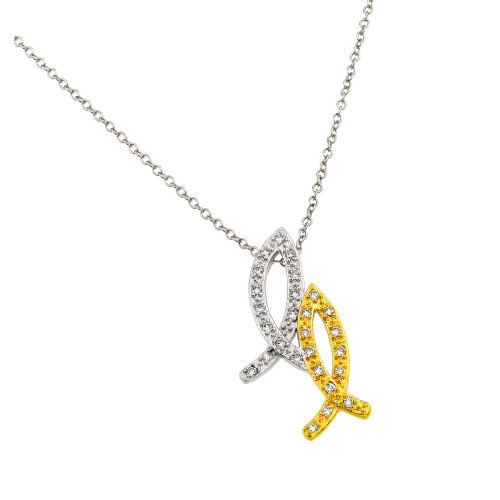 Wholesale Sterling Silver 925 Rhodium Plated and Gold Plated 2 Tone 2 Christian Fish Pendant Necklace - BGP00864