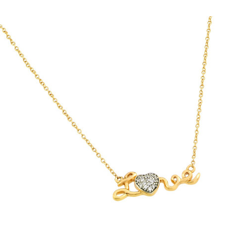 Wholesale Sterling Silver 925 Gold Plated Clear CZ Love Heart Pendant Necklace - STP01376GP