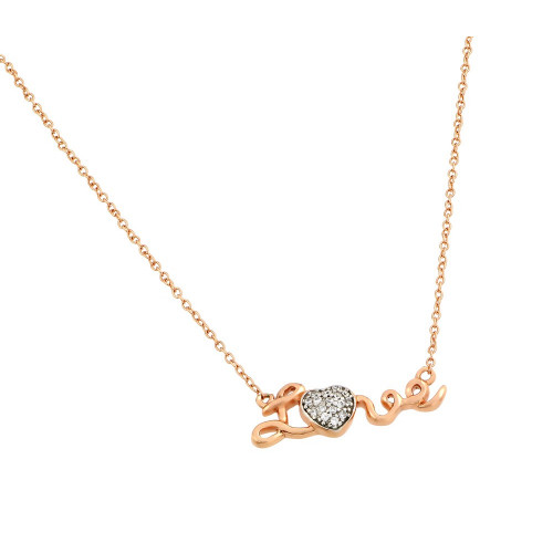 Wholesale Sterling Silver 925 Rose Gold Plated Clear CZ Pendant Necklace - STP01376RGP