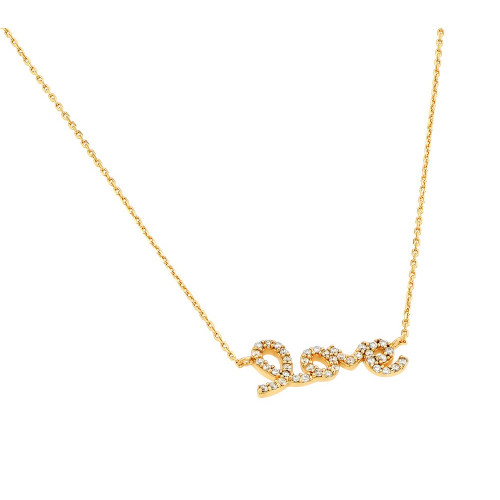 Wholesale Sterling Silver 925 Gold Plated Clear CZ Love Pendant Necklace - STP01383GP