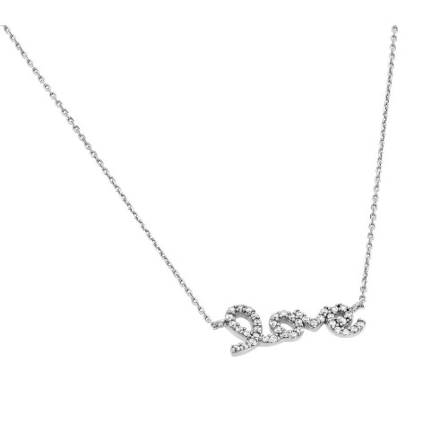 Wholesale Sterling Silver 925 Rhodium Plated Clear CZ Love Pendant Necklace - STP01383RH