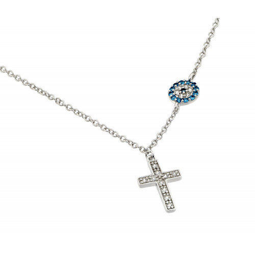 Wholesale Sterling Silver 925 Rhodium Plated Clear CZ Stone Cross with Blue CZ Stone Circle Pendant Necklace - BGP00844