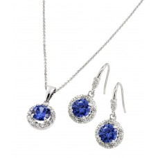 Wholesale Sterling Silver 925 Rhodium Plated Clear Cluster Blue Round CZ Hook Earring and Necklace Set - BGS00397