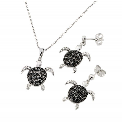 Wholesale Sterling Silver 925 Rhodium and Black Rhodium Plated Black and Clear Turtle CZ Dangling Stud Earring and Necklace Set - BGS00410