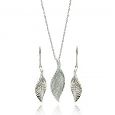 ***CLOSEOUT*** Wholesale Sterling Silver 925 Rhodium Plated Curvy Leaf CZ Hook Earring and Necklace Set - STS00102