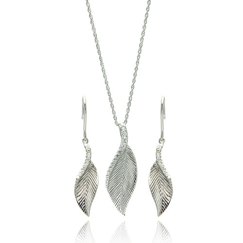 -CLOSEOUT- Wholesale Sterling Silver 925 Rhodium Plated Curvy Leaf CZ Hook Earring and Necklace Set - STS00102