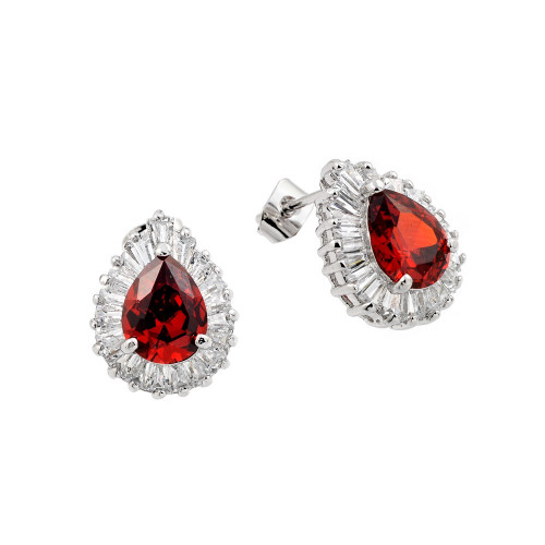 Wholesale Sterling Silver 925 Rhodium Plated Teardrop Red and Clear Pave Baguette CZ Stud Earrings - BGE00335