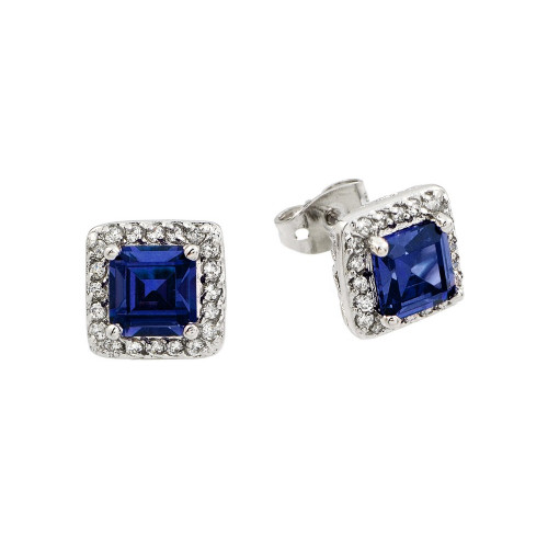 Wholesale Sterling Silver 925 Rhodium Plated Blue Square CZ Stud Earrings - BGE00359B