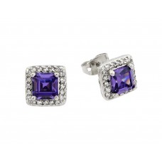 Wholesale Sterling Silver 925 Rhodium Plated Purple Square CZ Stud Earrings - BGE00359P