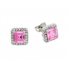 Wholesale Sterling Silver 925 Rhodium Plated Pink Square CZ Stud Earrings - BGE00359PK