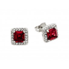 Wholesale Sterling Silver 925 Rhodium Plated Red Square CZ Stud Earrings - BGE00359R