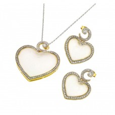 Wholesale Sterling Silver 925 Rhodium and Gold Plated Clear Micro Inlay Heart CZ Stud Earring and Necklace Set - BGS00407