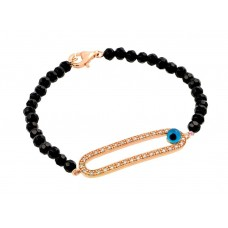 Wholesale Sterling Silver 925 Rose Plated Evil Eye Open Oval CZ Black Beads Bracelet - BGB00170RGP
