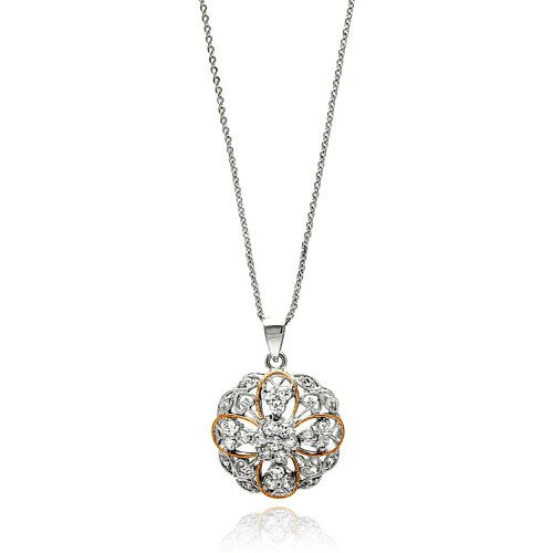 Wholesale Sterling Silver 925 Rhodium Plated Flower and Heart Design CZ Inlay Necklace - BGP00654