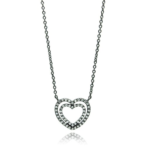 Wholesale Sterling Silver 925 Black Rhodium Plated Open Double Heart CZ Necklace - BGP00693