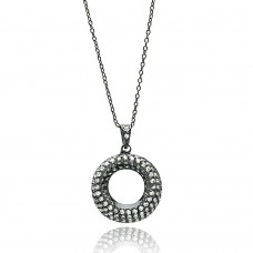 Wholesale Sterling Silver 925 Black Rhodium Plated Open Circle Clear CZ Necklace - BGP00694