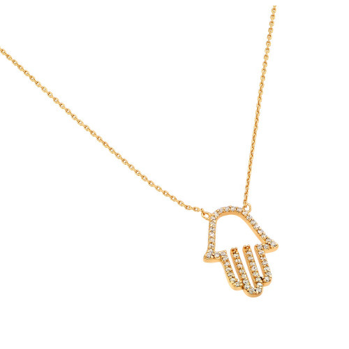 Wholesale Sterling Silver 925 Gold Plated Clear CZ Hamsa Pendant Necklace - STP01379GP
