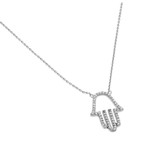 Wholesale Sterling Silver 925 Rhodium Plated Clear CZ Hamsa Pendant Necklace - STP01379RH