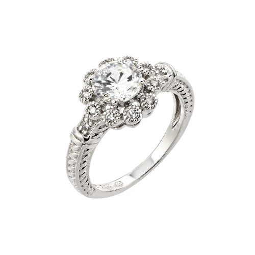 Wholesale Sterling Silver 925 Rhodium Plated Clear CZ Bridal Flower Ring - BGR00782