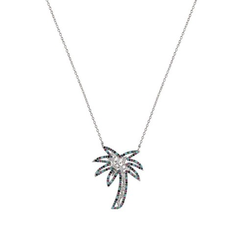 Wholesale Sterling Silver 925 Rhodium Plated Multi Color CZ Palm Tree Necklace - STP01655