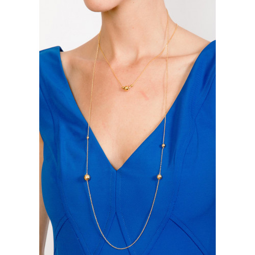 Wholesale Sterling Silver 925 Gold Plated Bead Necklace - ECN00027GP