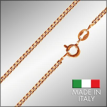 Sterling Silver Rose Gold Plated Box Chains
