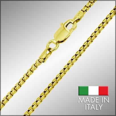 Sterling Silver Gold Plated Box Chains