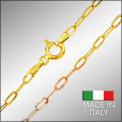 Sterling Silver Multi Color Link Chains