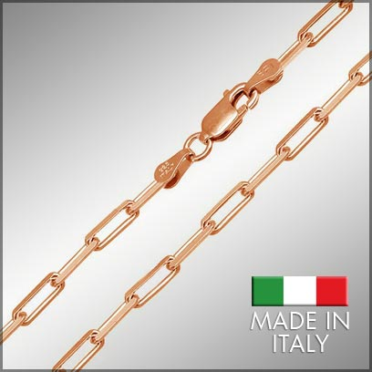 Sterling Silver Rose Gold Plated Link Chains