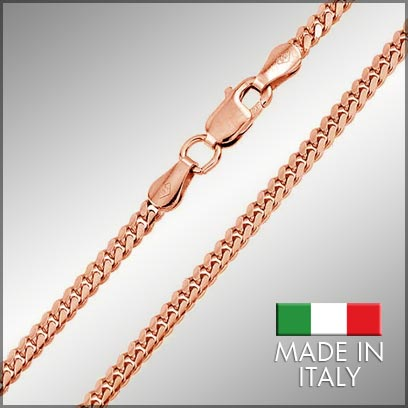 Sterling Silver Rose Gold Plated Miami Cuban Chains