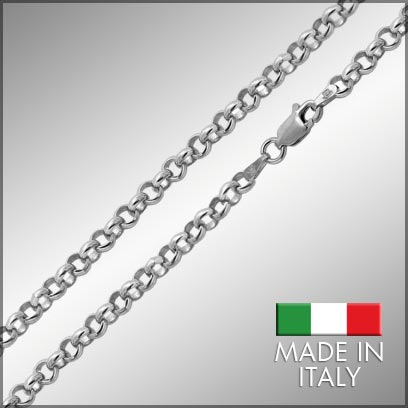 Sterling Silver Rhodium Rolo Chains