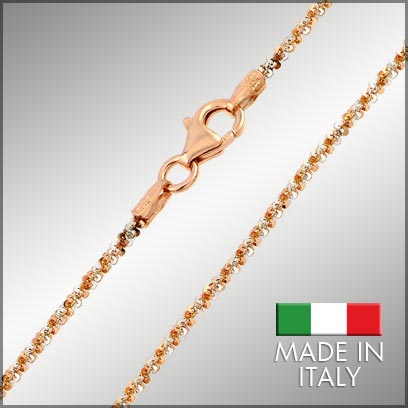 Sterling Silver Rose Gold Plated Roc Chains