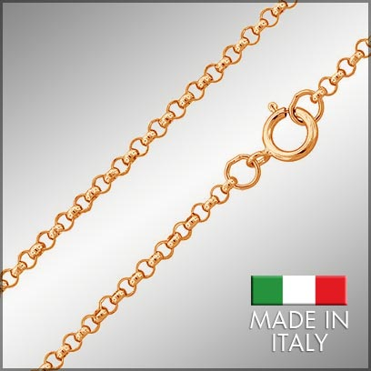 Sterling Silver Rose Gold Plated Cable Rolo Chains