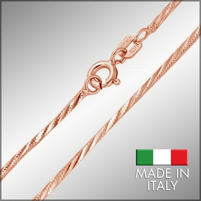 Sterling Silver Rose Gold Plated Snake Chains