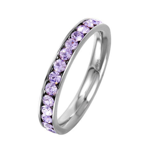 Wholesale Sterling Silver 925 Rhodium Plated Birthstone June Channel Eternity Band - ETRY-JUN