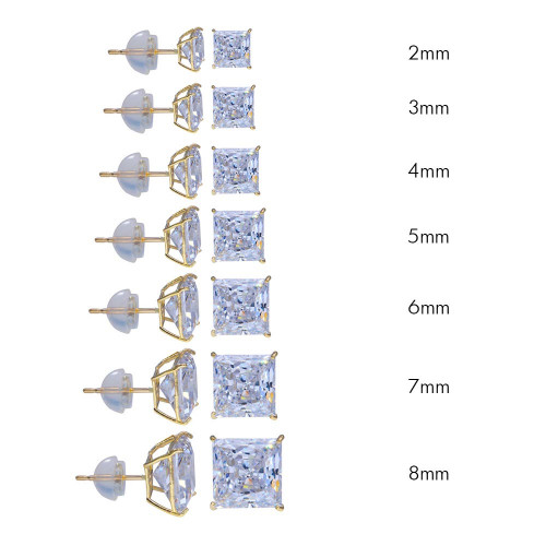 Wholesale 14 Karat Yellow Gold Square Silicone Backing CZ Stud Earrings - 14E00018