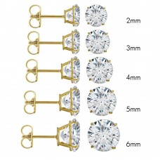 Wholesale 14 Karat Yellow Gold Push Backing Round Stud Earrings - 14K-RD-P