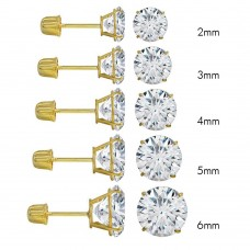 Wholesale 14 Karat Yellow Gold Screw Backing Round Stud Earrings - 14K-RD-S